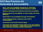 gco best practices list ownership accountability