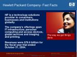 hewlett packard company fast facts