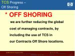 tcs progress off shoring
