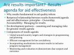 are results important results agenda for aid effectiveness