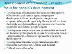 development effectiveness results focus for people s development