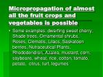 micropropagation of almost all the fruit crops and vegetables is possible
