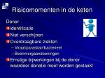 risicomomenten in de keten