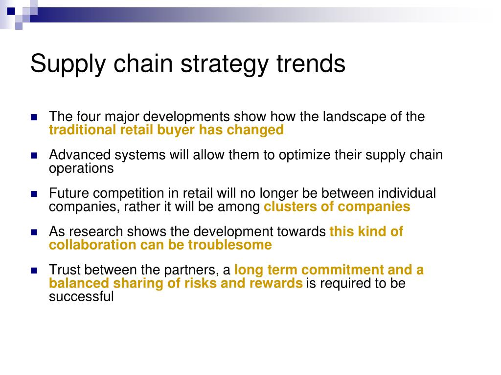 Supply chain strategy trends