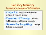 sensory memory temporary storage of information