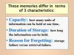 these memories differ in terms of 3 characteristics