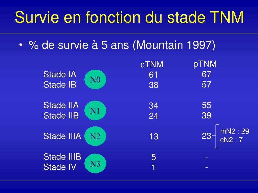 Survie en fonction du stade TNM
