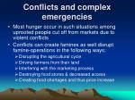 conflicts and complex emergencies