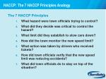 haccp the 7 haccp principles analogy