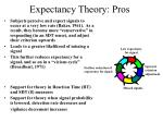 expectancy theory pros