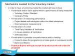 mechanims needed for the voluntary market
