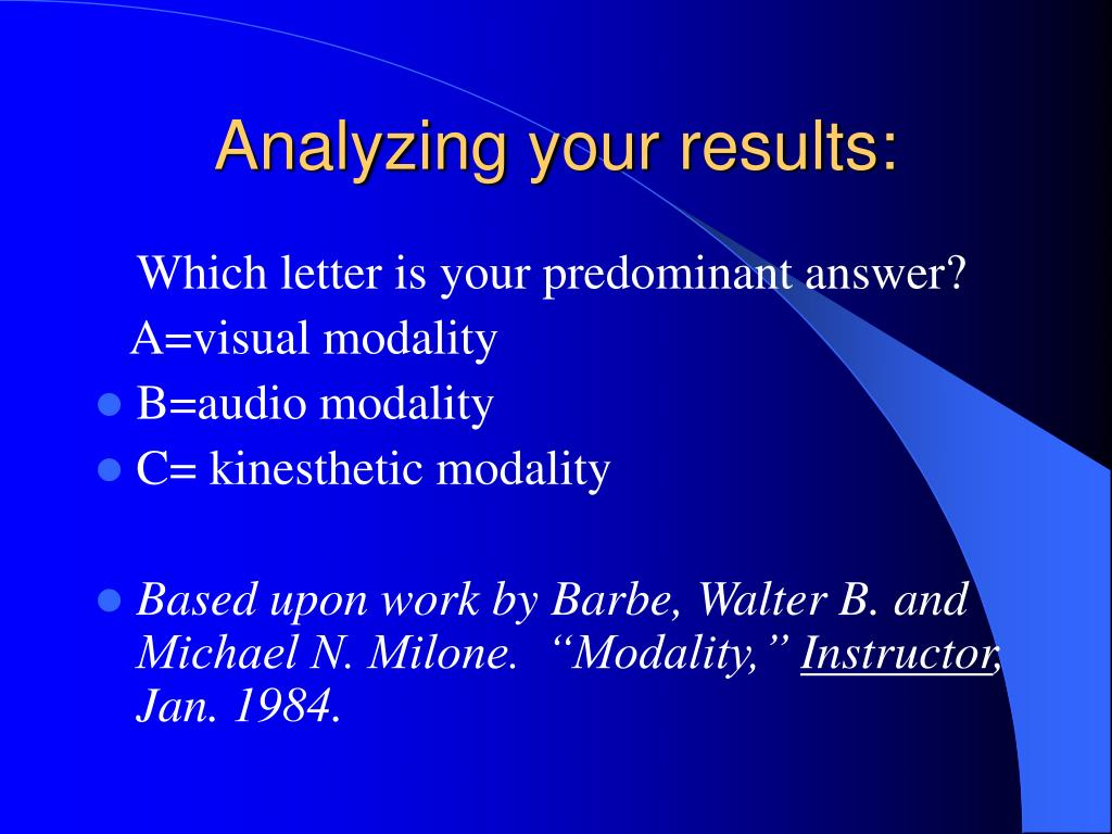 Analyzing your results: