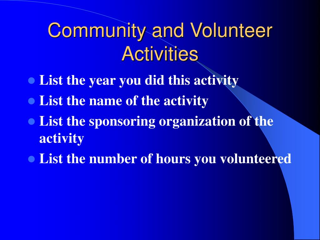 Community and Volunteer Activities