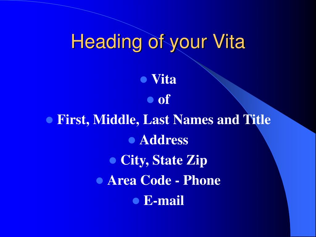 Heading of your Vita
