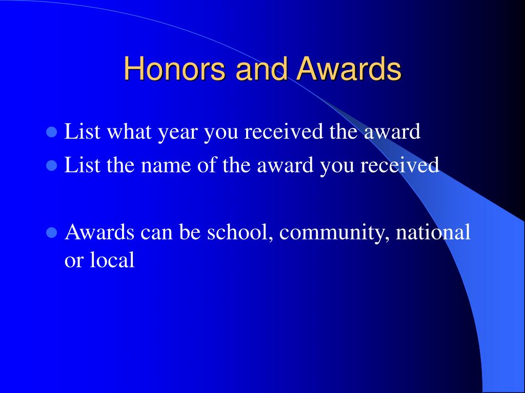 Honors and Awards