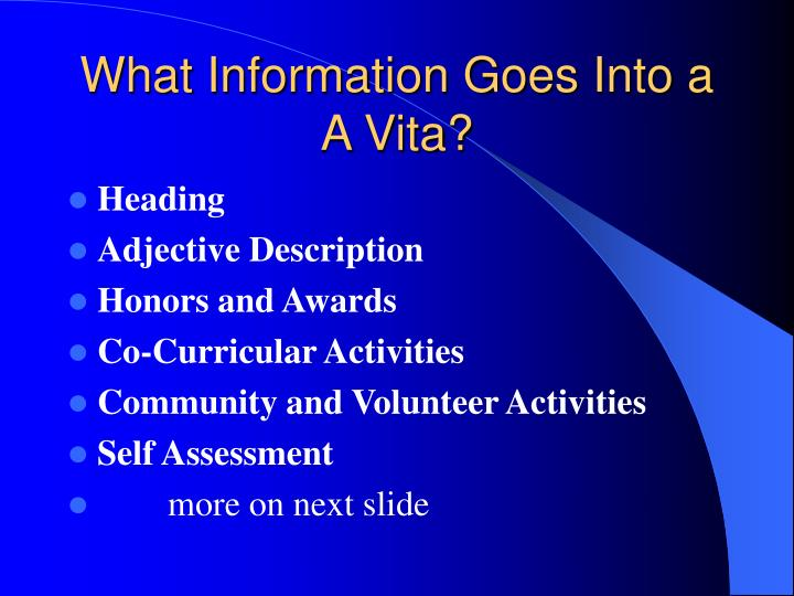 What information goes into a a vita