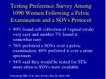 testing preference survey among 1090 women following a pelvic examination and a sovs protocol
