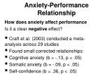 anxiety performance relationship