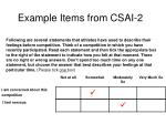 example items from csai 2