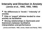 intensity and direction in anxiety jones et al 1992 1993 199515