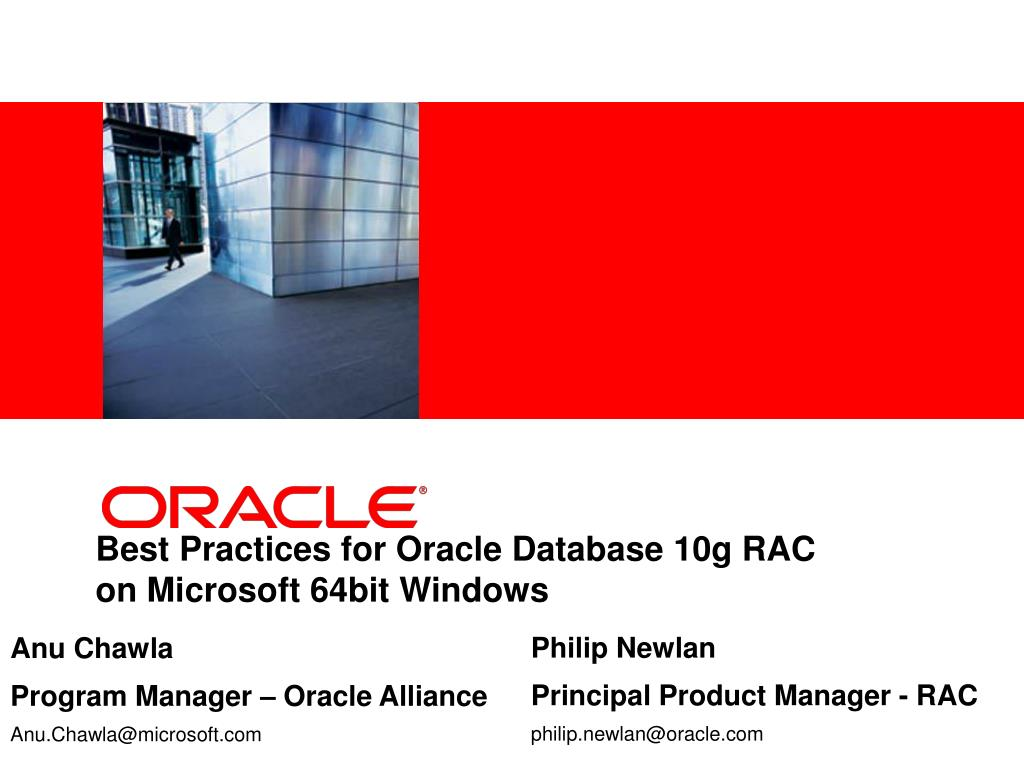 best practices for oracle database 10g rac on microsoft 64bit windows l.