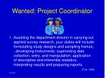 wanted project coordinator