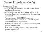 control procedures con t