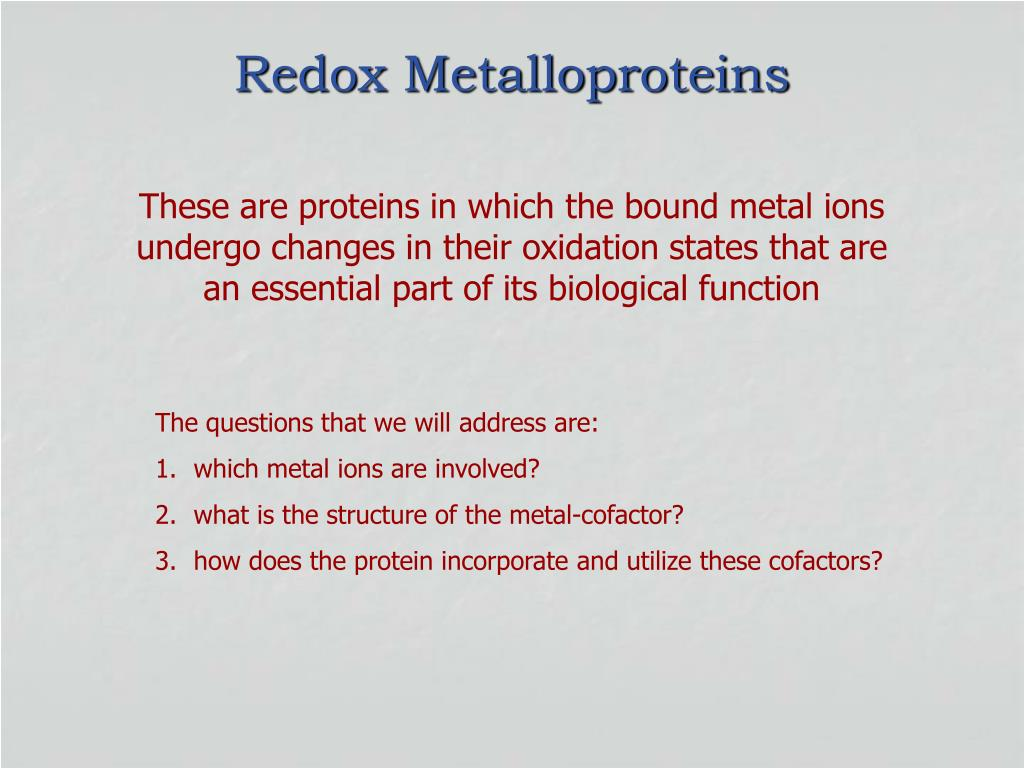 redox metalloproteins l.