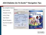 ada diabetes go to guide navigation tips