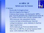 a npa 14 options pour les licences