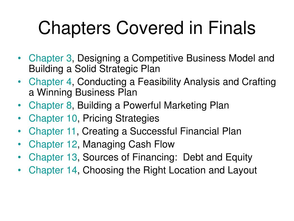 chapters covered in finals l.