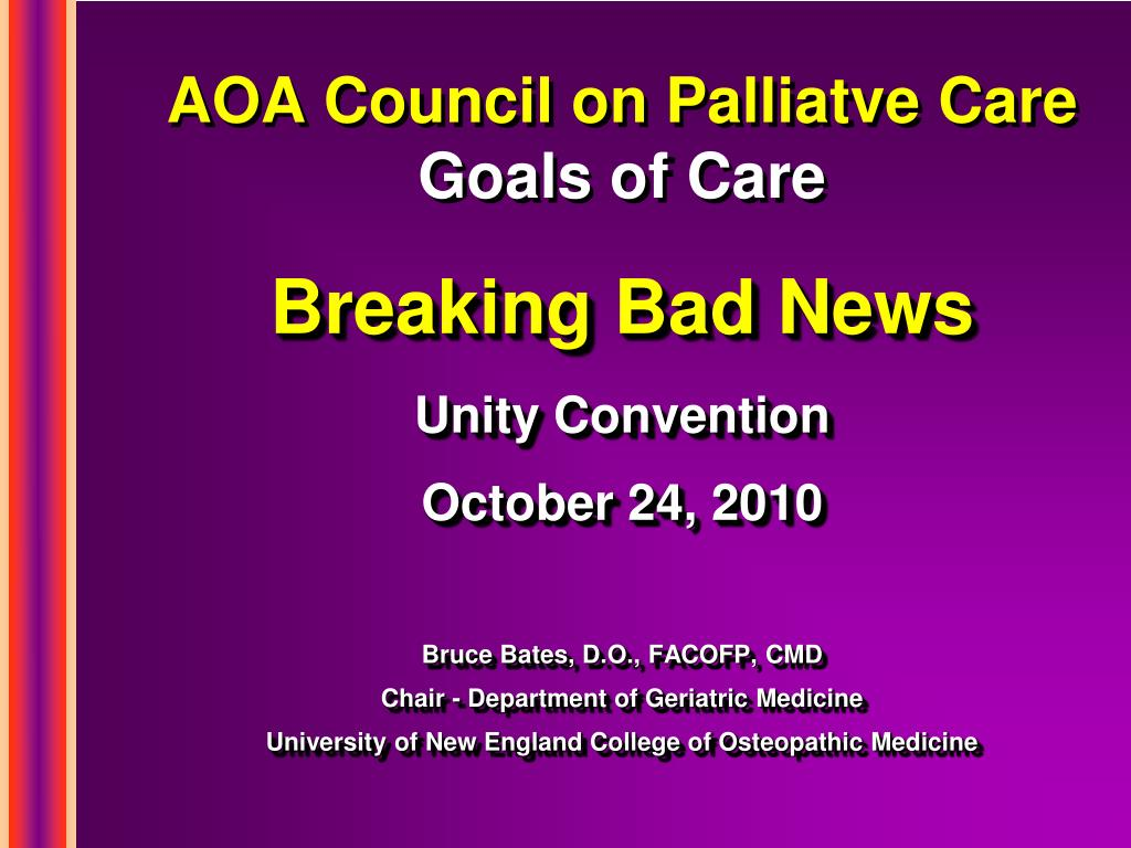 aoa council on palliatve care goals of care l.