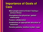 importance of goals of care
