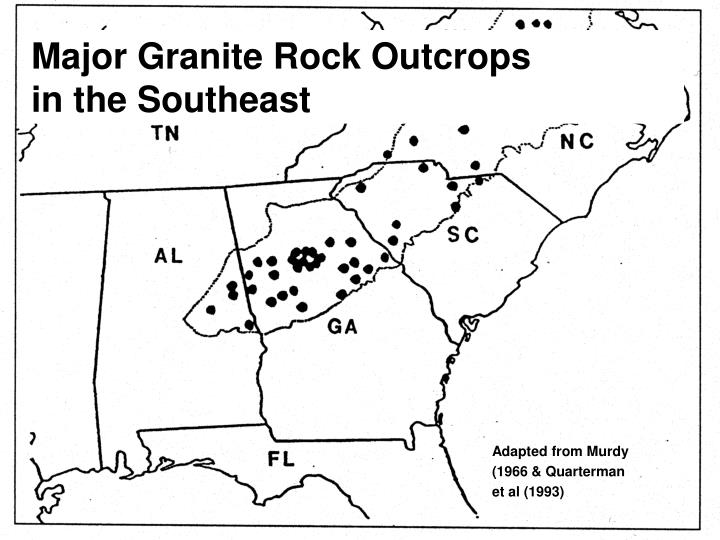 Major Granite Rock Outcrops                 in the Southeast