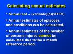 calculating annual estimates