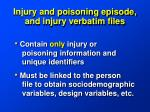 injury and poisoning episode and injury verbatim files