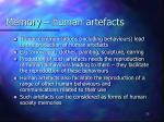 memory human artefacts