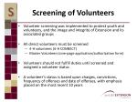 screening of volunteers