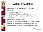 system orientation