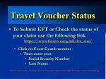 travel voucher status
