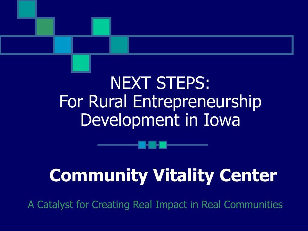 next steps for rural entrepreneurship development in iowa community vitality center l.