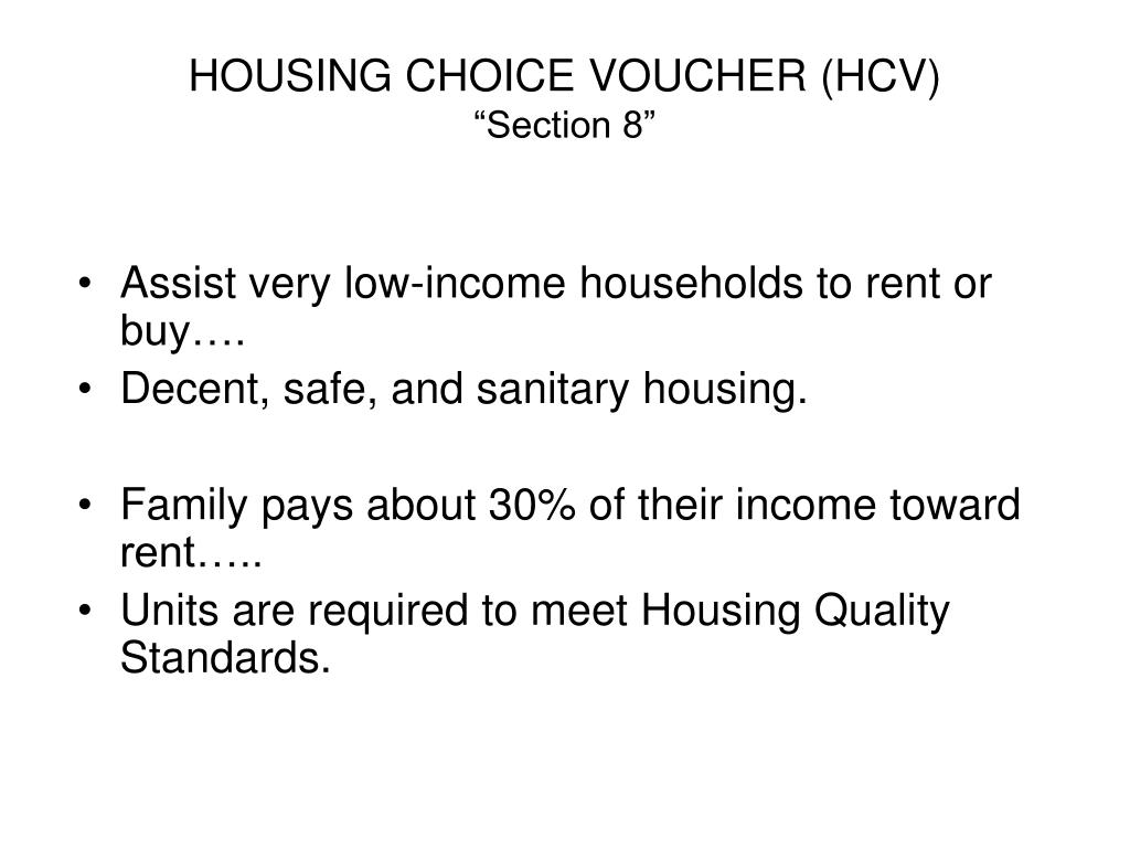 "PPT - HOUSING CHOICE VOUCHER (HCV) ""Section 8"" PowerPoint ..."