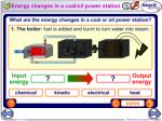 energy changes in a coal oil power station