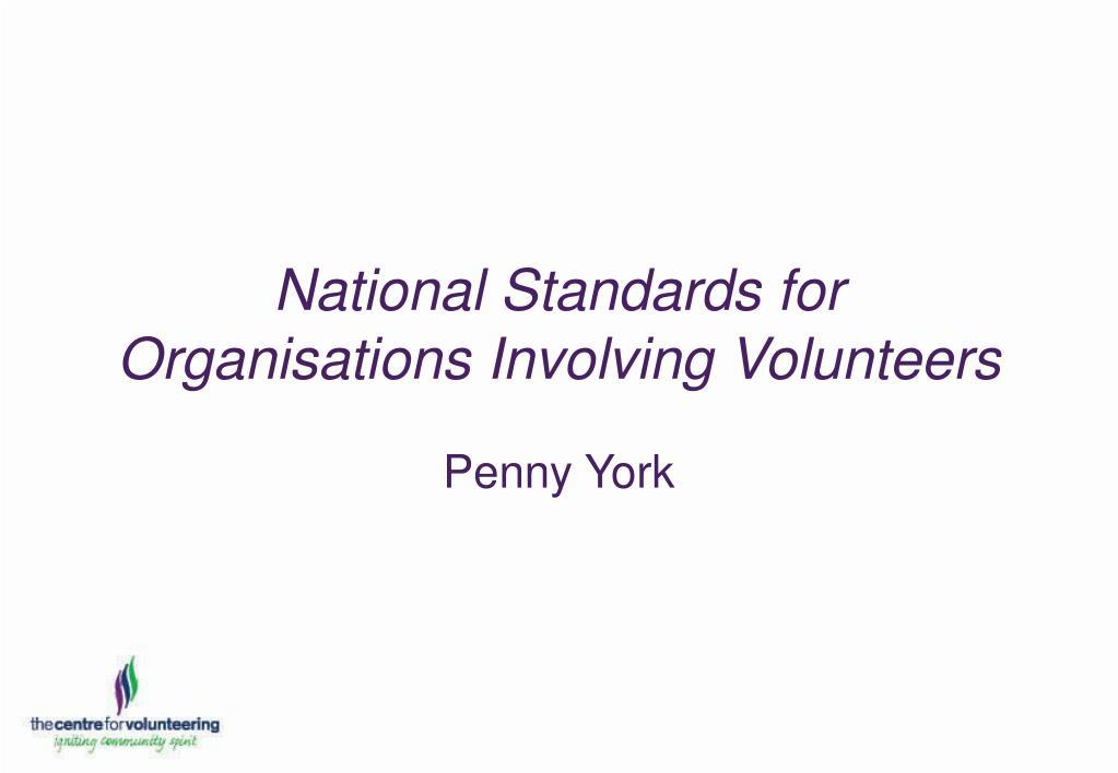 national standards for organisations involving volunteers l.