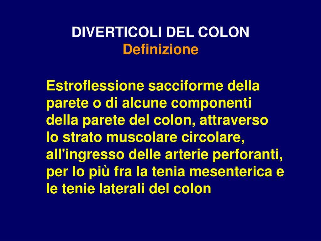 diverticoli del colon definizione l.
