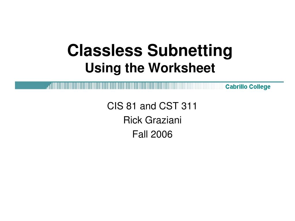 classless subnetting using the worksheet l.