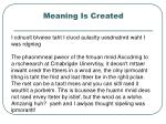meaning is created