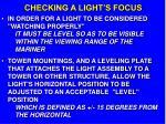 checking a light s focus