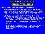 verifying a light s characteristics