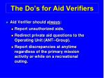 the do s for aid verifiers